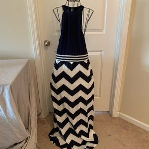 Navy and white maxi dress size M